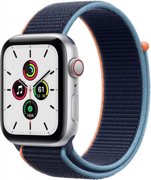 Apple Watch SELTE Silber 44mm Sport Loop Dunkelmarine