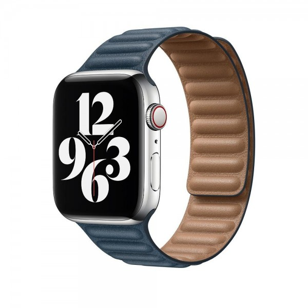 "Apple Lederarmband mit Endstück""Baltischblau M/L (140-180 mm) 44 mm"
