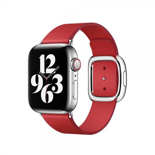 "Apple Modernes Lederarmband""Scharlachrot Medium (145-165 mm)"