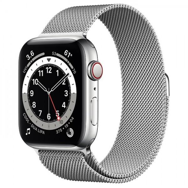 "Apple Watch Series 6 Edelstahl Silber""44 mm Milanaise Armband Silber"