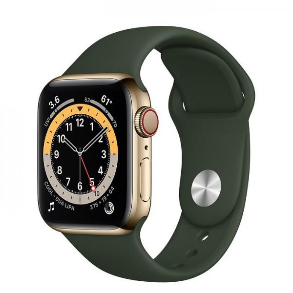 """Apple Watch Series 6 Edelstahl Gold""""40 mm Sportarmband Zyperngrün"""