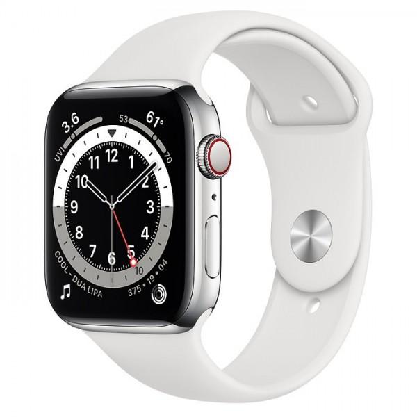 """Apple Watch Series 6 Edelstahl Silber""""44 mm Sportarmband Weiß"""