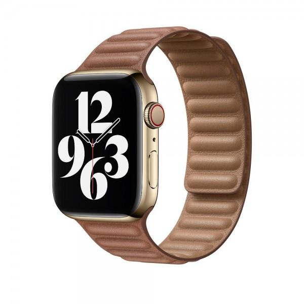 "Apple Lederarmband mit Endstück""Sattelbraun S/M (130-160 mm) 44 mm"