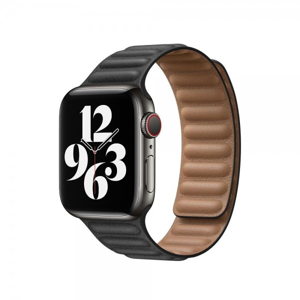 "Apple Lederarmband mit Endstück""Schwarz S/M (130-160 mm) 40 mm"