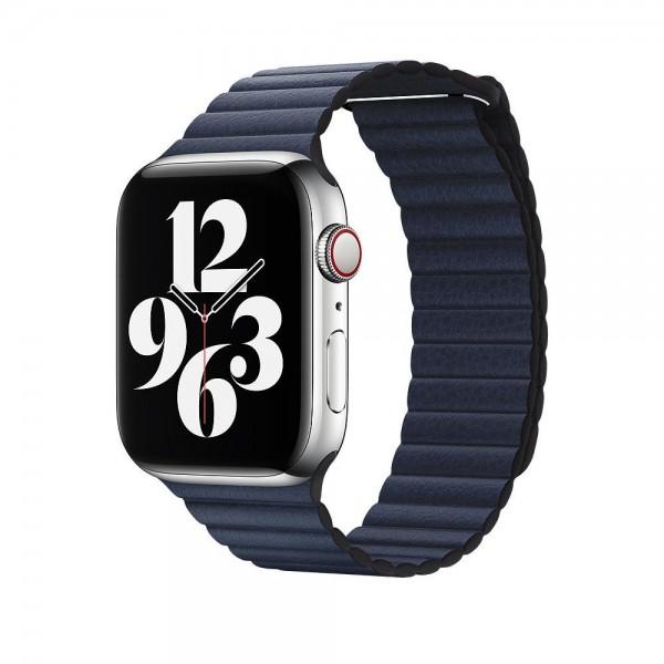 "Apple Lederarmband mit Schlaufe""Taucherblau Medium (150-185 mm)"