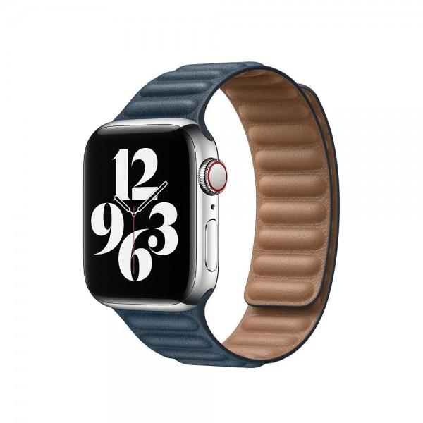 """Apple Lederarmband mit Endstück""""Baltischblau S/M (130-160 mm) 40 mm"""