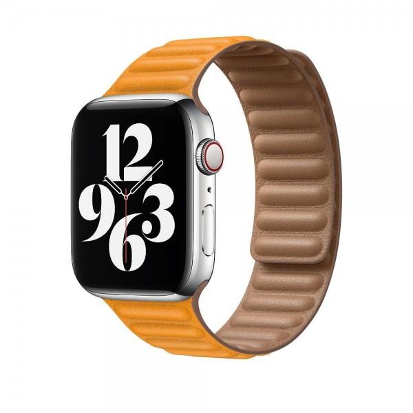 "Apple Lederarmband mit Endstück""California Poppy S/M (130-160 mm) 44 mm"