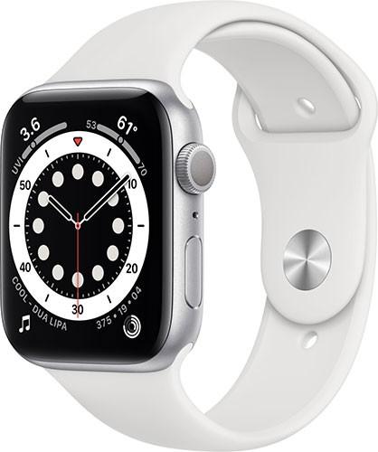 Apple Watch Series 6 Silber Aluminium 44mm Sportarmband Weiß M00D3FD/A