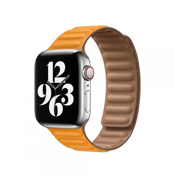 "Apple Lederarmband mit Endstück""California Poppy M/L (140-180 mm) 40 mm"