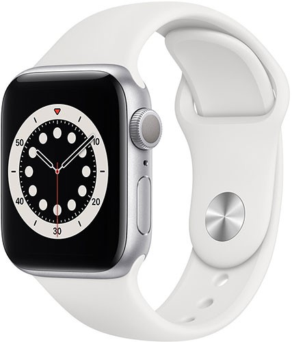 Apple Watch Series 6 GPS 40mm Silver Aluminium Case with White Sport Band - Regular