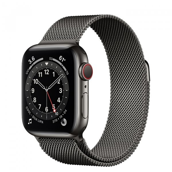 Apple Watch Series 6 Edelstahl Graphit 40 mm Milanaise Armband Graphit