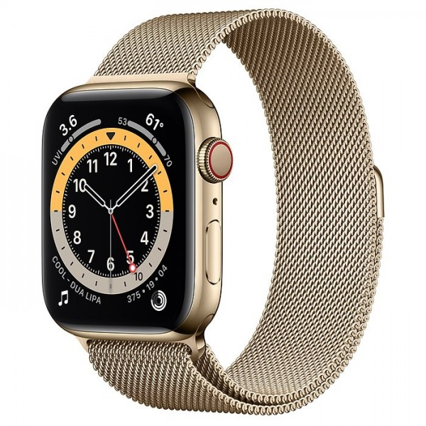 """Apple Watch Series 6 Edelstahl Gold""""44 mm Milanaise Armband Gold"""