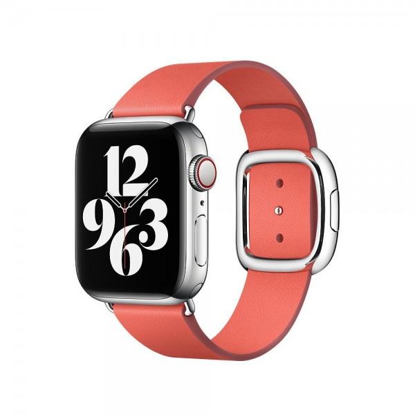 """Apple Modernes Lederarmband""""Zitruspink Large (160-180 mm)"""