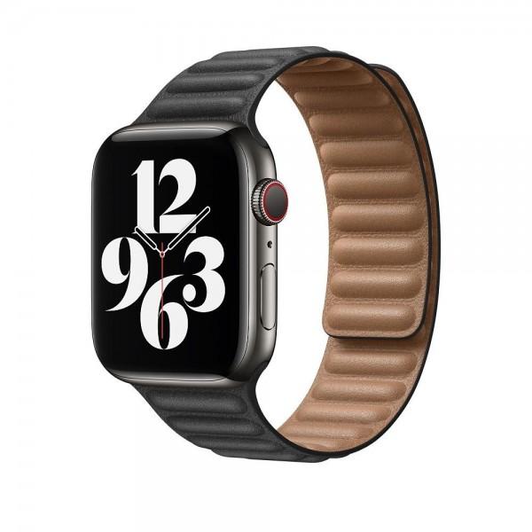 "Apple Lederarmband mit Endstück""Schwarz S/M (130-160 mm) 44 mm"