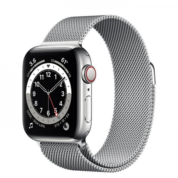 "Apple Watch Series 6 Edelstahl Silber""40 mm Milanaise Armband Silber"