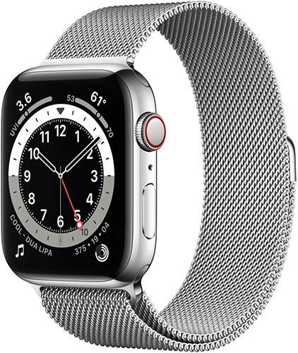 Apple Watch Series 6 LTE Silber Edelstahl 44mm Milanaise M09E3FD/A